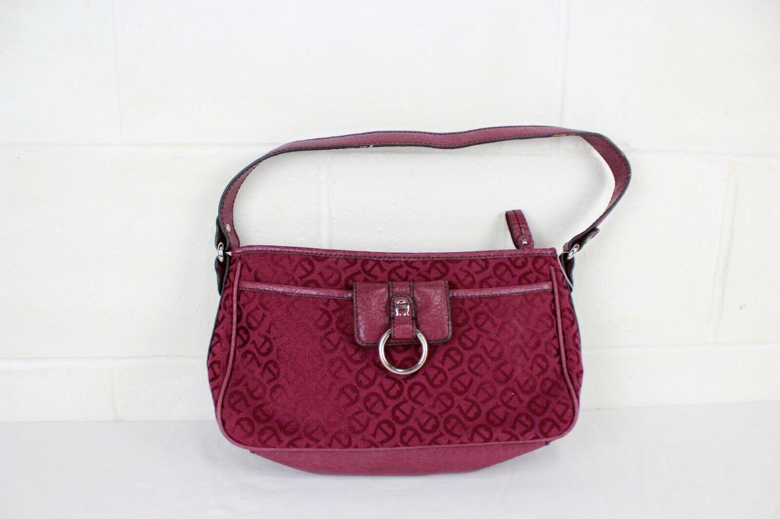 Vintage ETIENNE AIGNER Burgundy singnature logo satchel Handbag Purse