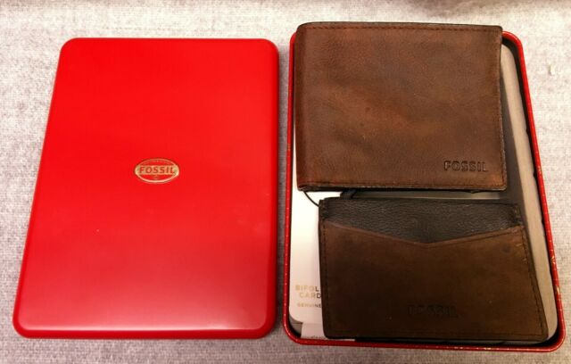bd1d831891 Fossil Men's Austin Bifold Wallet and Card Case Gift Set Brown Leather  ML3707200