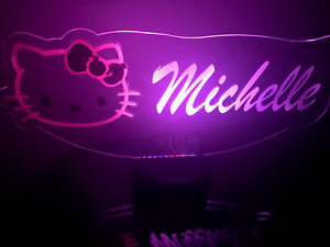 Hello Kitty Light Up Lamp LED Personalized Hello Kitty Table Lamp Remote Engrave