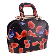 WOMEN'S PATENT POPPY FLOWER AND BUTTERFLY BAGS CELEB TOTE SHOULDER HANDBAGS