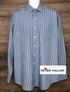 Peter-Millar-Men-039-s-Cotton-Blue-amp-Brown-Plaid-Long-Sleeve-Button-Front-Shirt-XL