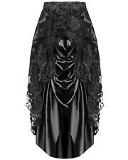 Dark In Love Long Gothic Skirt Black Steampunk Victorian Lace Satin Bustle VTG