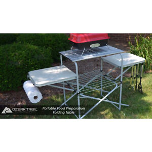 Portable folding camping cooking table camp grill grilling outdoor kitchen stand ebay - Table retractable cuisine ...