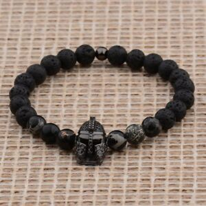 Fashion-Men-039-s-Lava-Stone-Beaded-Black-Helmet-Bracelets-Spartan-Knight-Bangle