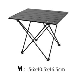 Aluminum Multifunctional Folding Camping Table For Outdoor BBQ Picnic M Black