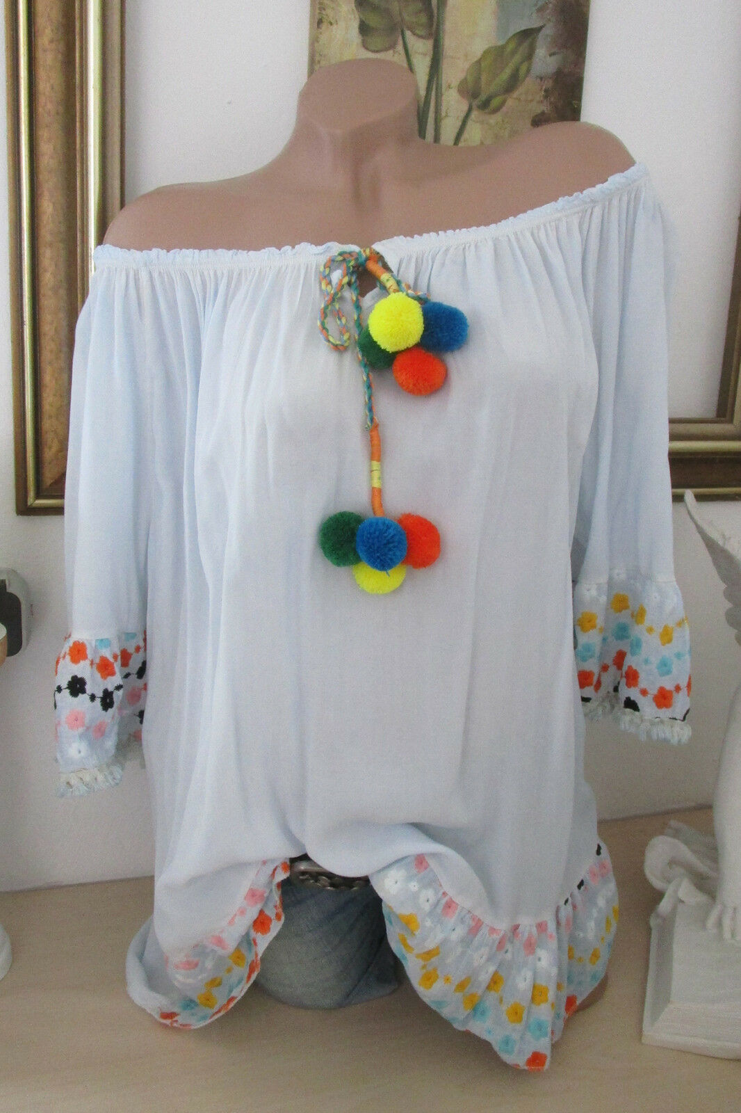 Summer Hippie Tunic Top bluee Multicoloured Pom Poms Embroidery Ibiza Style