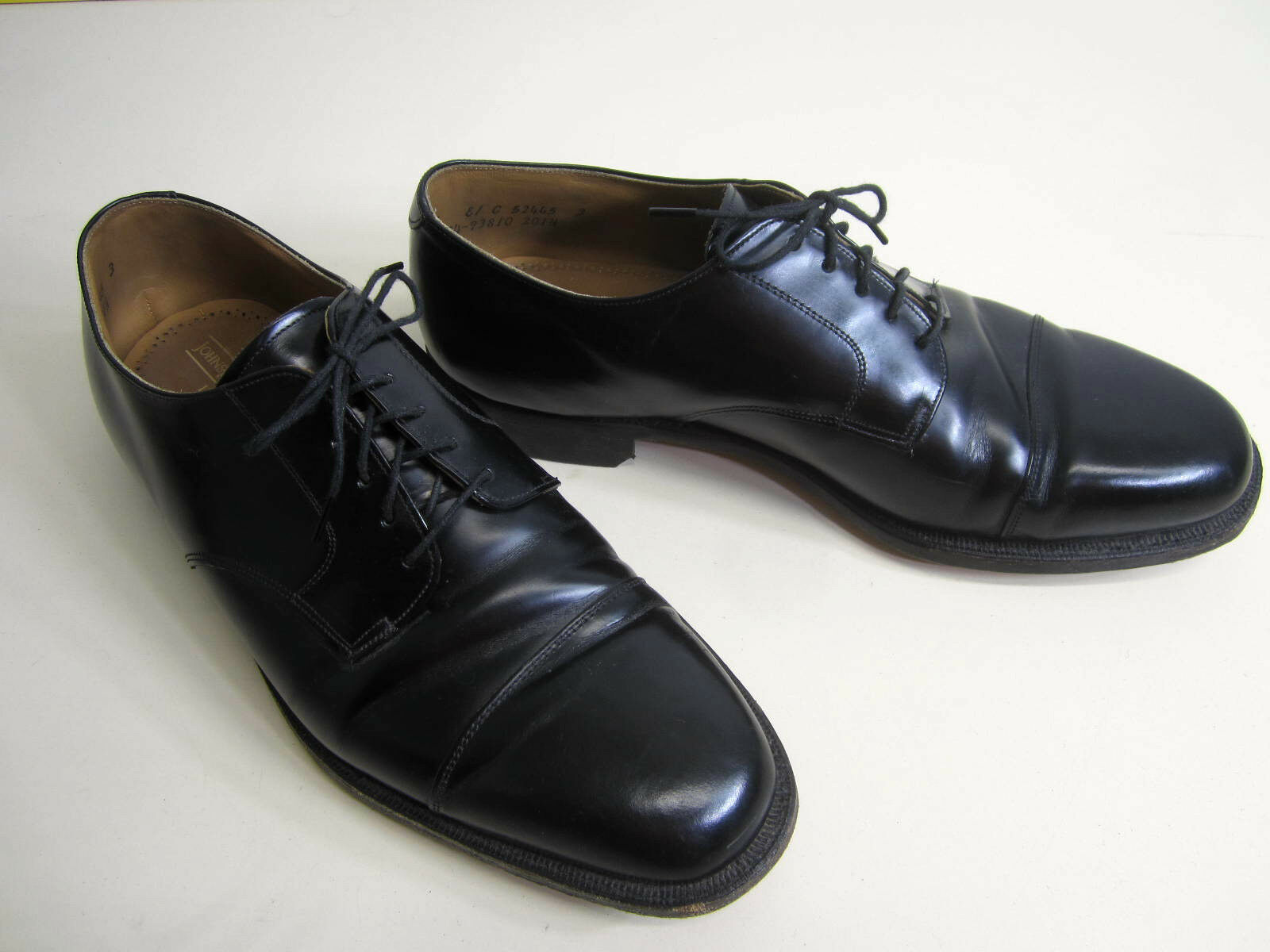 VTG Johnston & Murphy Limitada Oxford Zapatos de vestir de la puntera De Cuero Negro 10e Usa