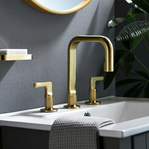 Brushed Gold Brass NEW Unique Bathroom Sink Faucet Hot/&Cold Mixer Tap 2 handles