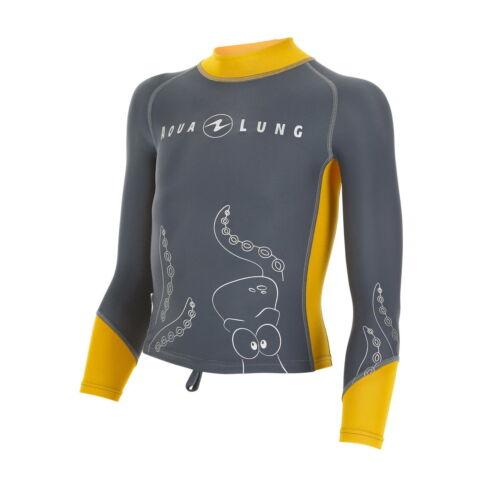 Aqualung orange-grey Lang Kids Shirt Top RASH GUARD  UV Short RASHGUARD