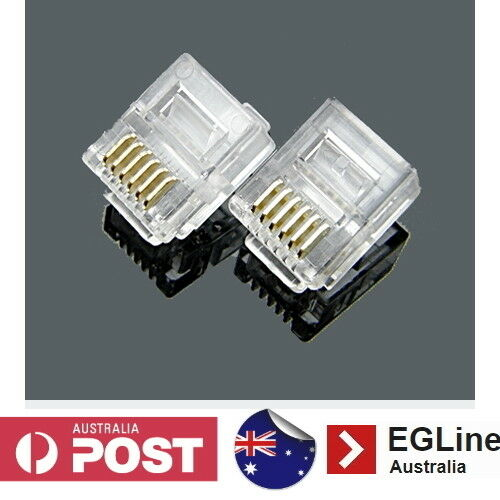 RJ12 Gold-plated 6P6C Modular Plug Telephone ADSL Connectors 10 - 100Pcs