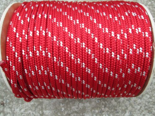 5//16 X 125/' Sail,Halyard Line Boat Rope double braid Red// white tr Jibsheets