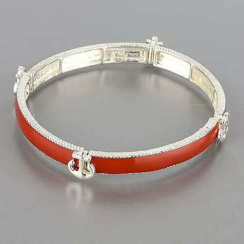 Rhodium Silver Red Religiously Inspired Stretchable Anchor Bracelet
