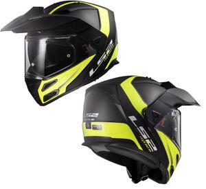 LS2-FF324-METRO-EVO-DUAL-VISOR-FLIP-UP-MOTORCYCLE-ADVENTURE-HELMET-RAPID-YELLOW