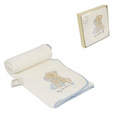 Forte Button Corner Ricamato Baby Coperta Regalo Blu- Per Farti Sentire A Tuo Agio Ed Energico