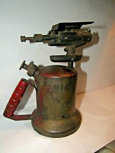 Vtg-Unique-Mfg-Co-Blow-Torch-Steampunk-Soldering-Tool-Wooden-Handle