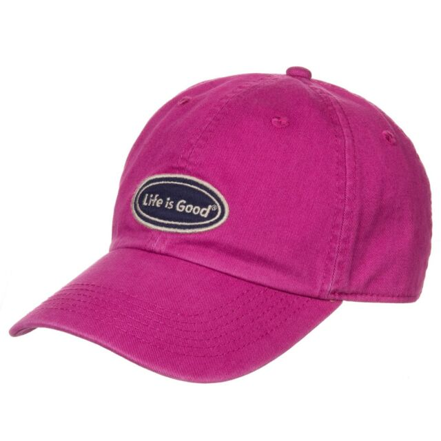 LIFE IS GOOD Women's Chill Cap LIG OVAL Cotton Baseball Hat SASSY MAGENTA NWT!