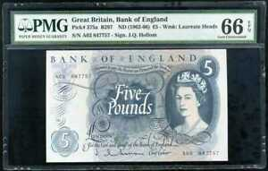 GREAT-BRITAIN-5-POUNDS-ND-1962-66-P-375-SIGN-J-Q-HOLLOM-GEM-UNC-PMG-66-EPQ