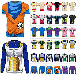 Herren 3D Fitness Hemd Saiyan Goku DBZ Compression T-Shirt Dragon Ball Z Cos