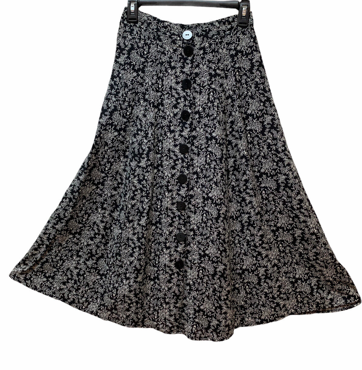 Vintage Rayon Long Dainty Floral A Line Button Front Skirt Made USA Fit M