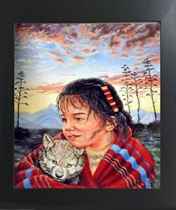 Native-American-Indian-Girl-and-Wolf-Wall-Art-Decor-Contemporary-Framed-Picture