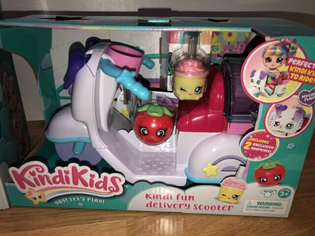 Kindi Kids Fun Delivery Scooter New Includes 2 Exclusive Shopkins
