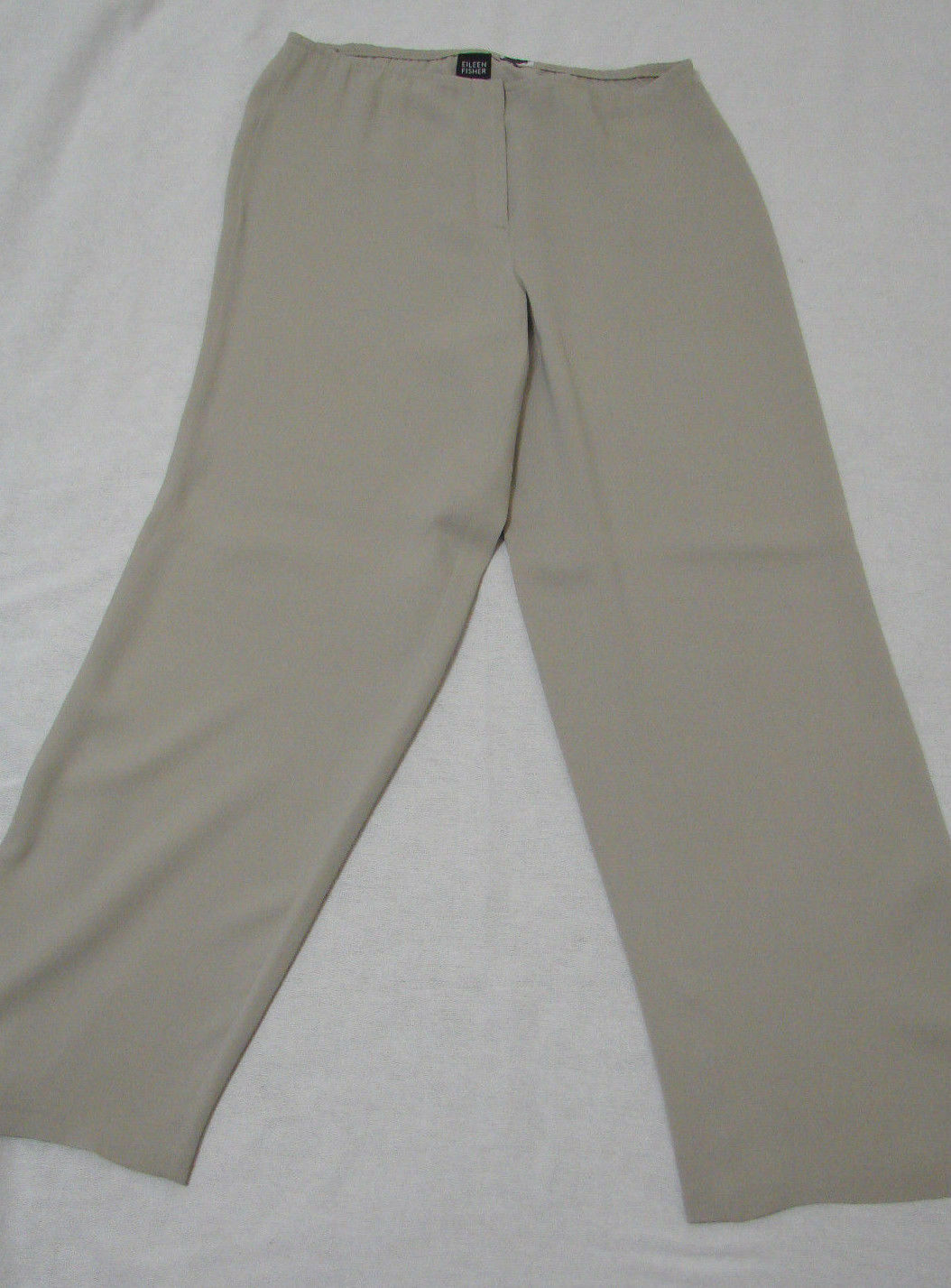 EILEEN FISHER Silk Beige Zip Front Wide Leg Slouch Pants NWOT M