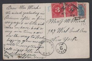 Details About Germany US Postcard Postage Due At Destination Two 3c Stamps Over German Stamp