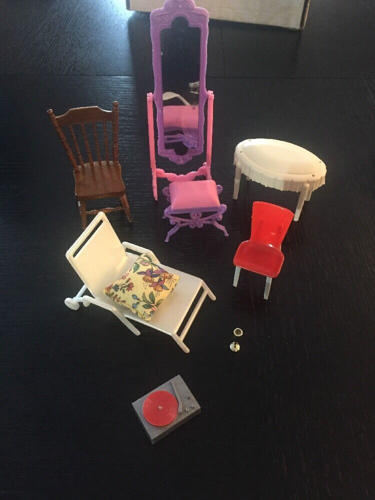 Doll House Chairs Furniture Vintage Mirror, Lounger