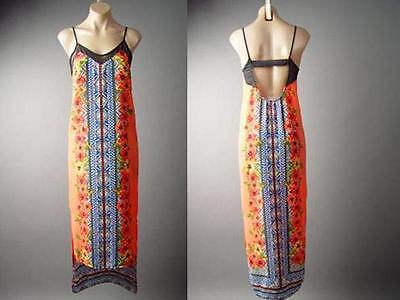 Hawaiian Tropical Floral Tribal Exotic Slip Resort Long Maxi 131 mv Dress S M