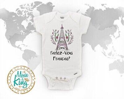 "Pink /""Paris/"" Onesie Newborn Custom Print  Eiffel Tower Cute Baby Girl clothes"
