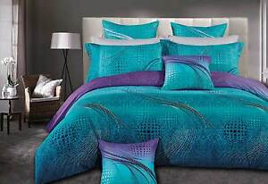 Queen-size-ZEPHYR-quilt-cover-Set-3pc-turquoise-purple-doona-cover-duvet-Cover