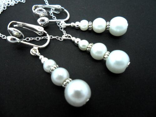 Un Blanco Perla Cristal Boda Dama De Honor Collar Y Clip en Pendiente Conjunto Nueva.