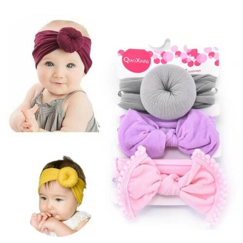 3PCS Girls Baby Toddler Turban Solid Headband Hair Band Bow Accessories Headwear
