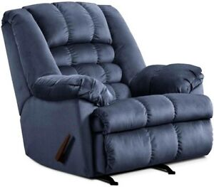 Image Is Loading LARGE Blue Rocker Recliner Oversized Arm Chairs Recliners