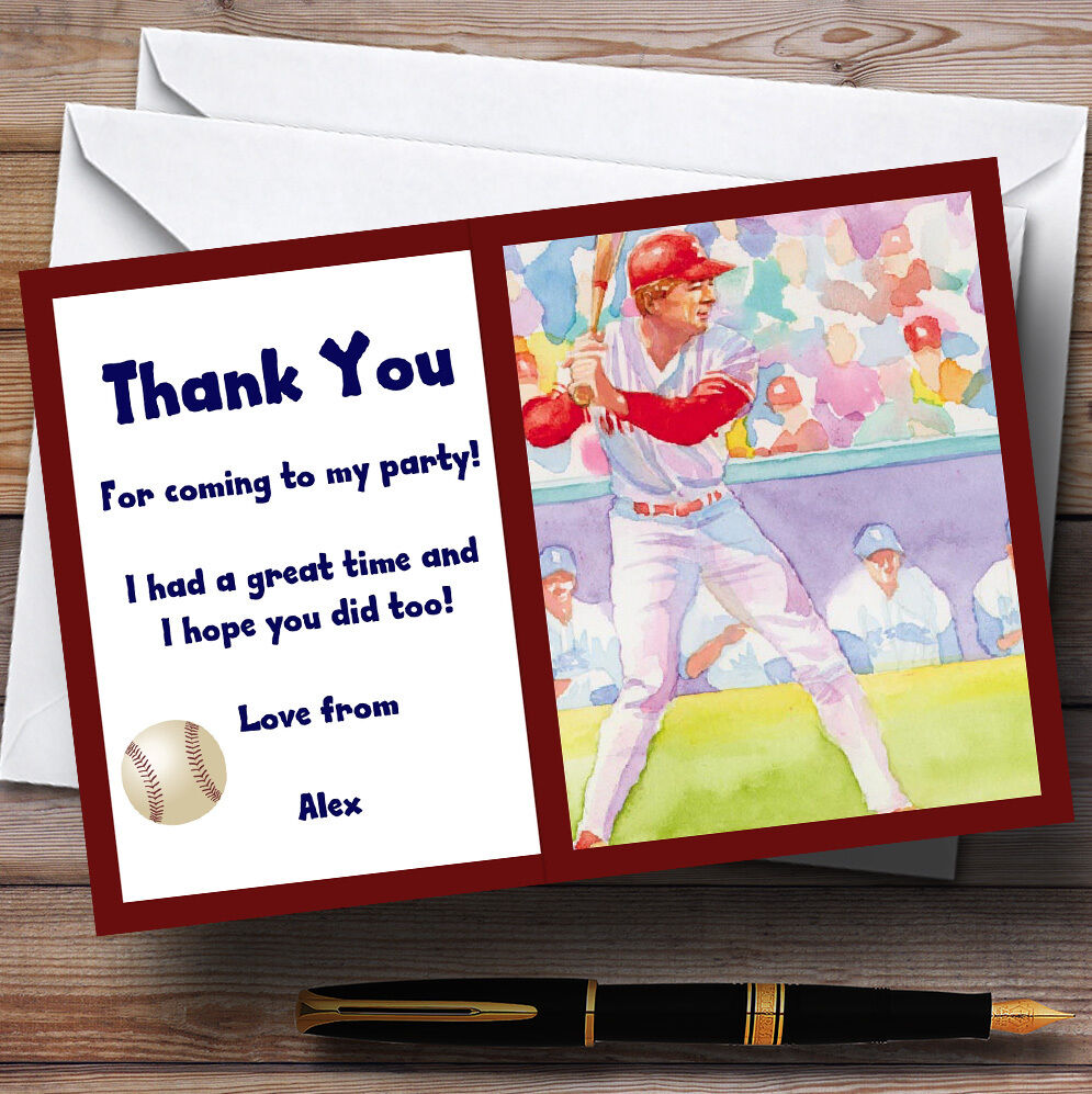 Baseball Personalised Party Thank You Cards 08aa00