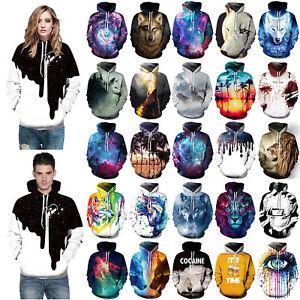Men Women Galaxy Wolf Lion 3D Graphic Printed Hoodie Sweatshirt Pullover Tops