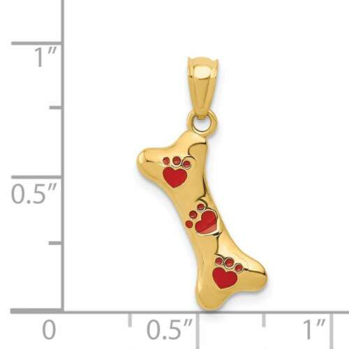 14K Yellow Gold Dog Bone w// Red Enamel Paw Prints Pendant