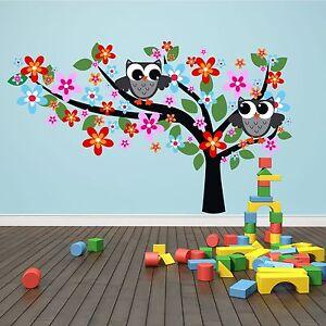 Wandtattoo Eulen Baum 190x115cm Comic Kinder Zimmer Animal Aufkleber