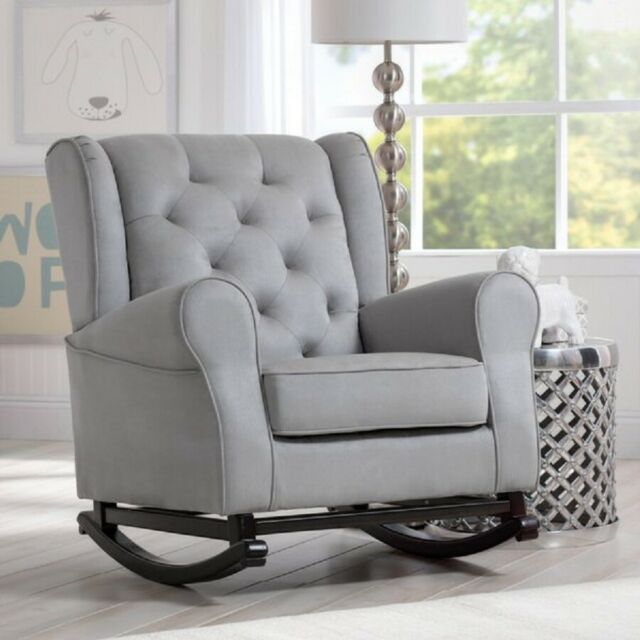 Nursery Rocking Chair Baby Room Furniture Plush Upholstered Seat Cushion Gray