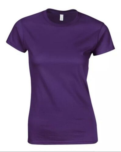 NEW Gildan softstyle Purple Women's Ladies cotton Fitted Large T-shirt UK 10