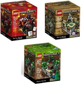 3-Sets-Lego-CUUSOO-Minecraft-Original-21102-The-Nether-21105-amp-The-Village-21106
