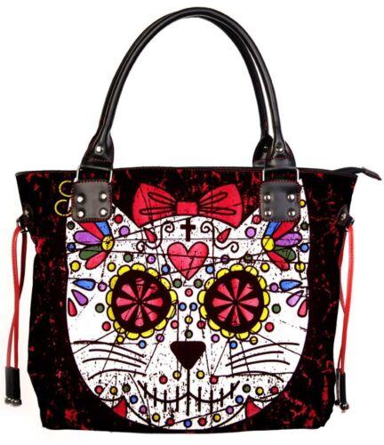 Banned Black Sugar Kitty Cat Canvas Tote Shoulder Bag Handbag Goth Alternative