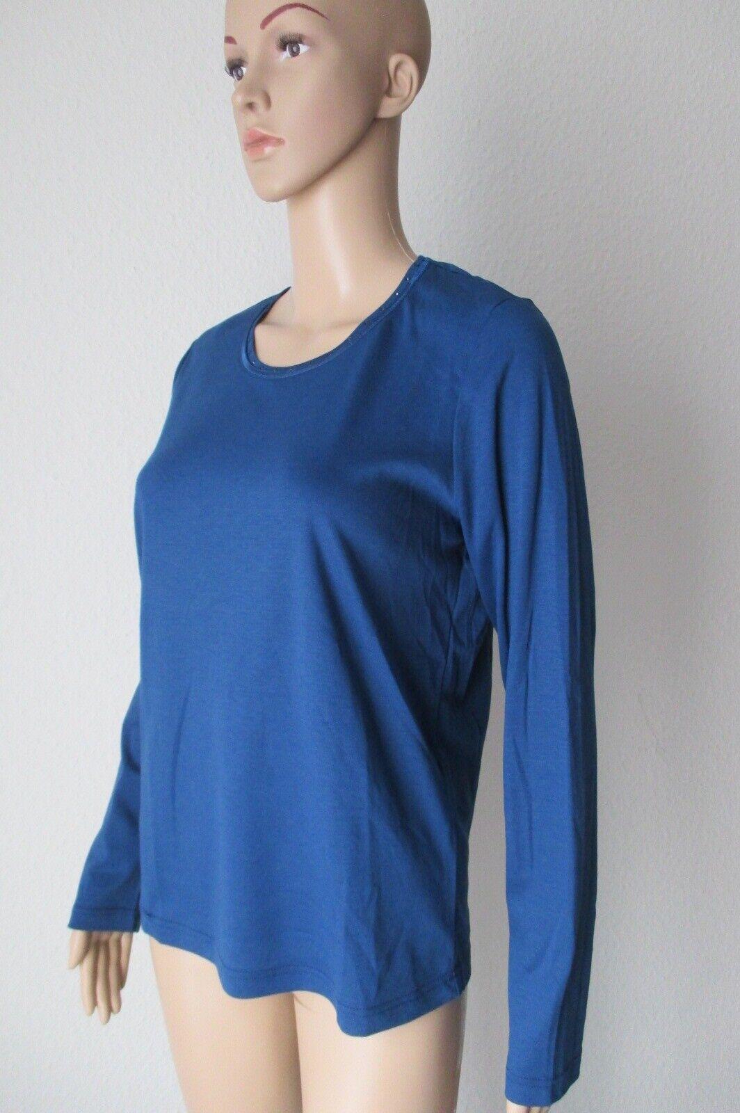 Efixelle Rundhals-Shirt mit  langem Arm, Farbe blau, Größe 38