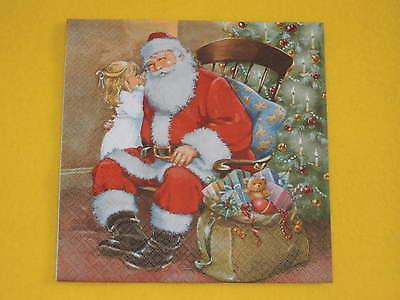 4 Servietten Santa Weihnachten Mädchen  Xmas weihnachtsmann stuhl sack baum