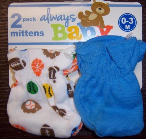 New Always Baby A Trademark of Gerber Girl/'s or Boy/'s 2 Pack Mitten Set