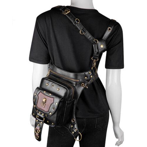 Vintage Steampunk Waist bags Motorcycle Leg Gothic Leather Messenger Bag