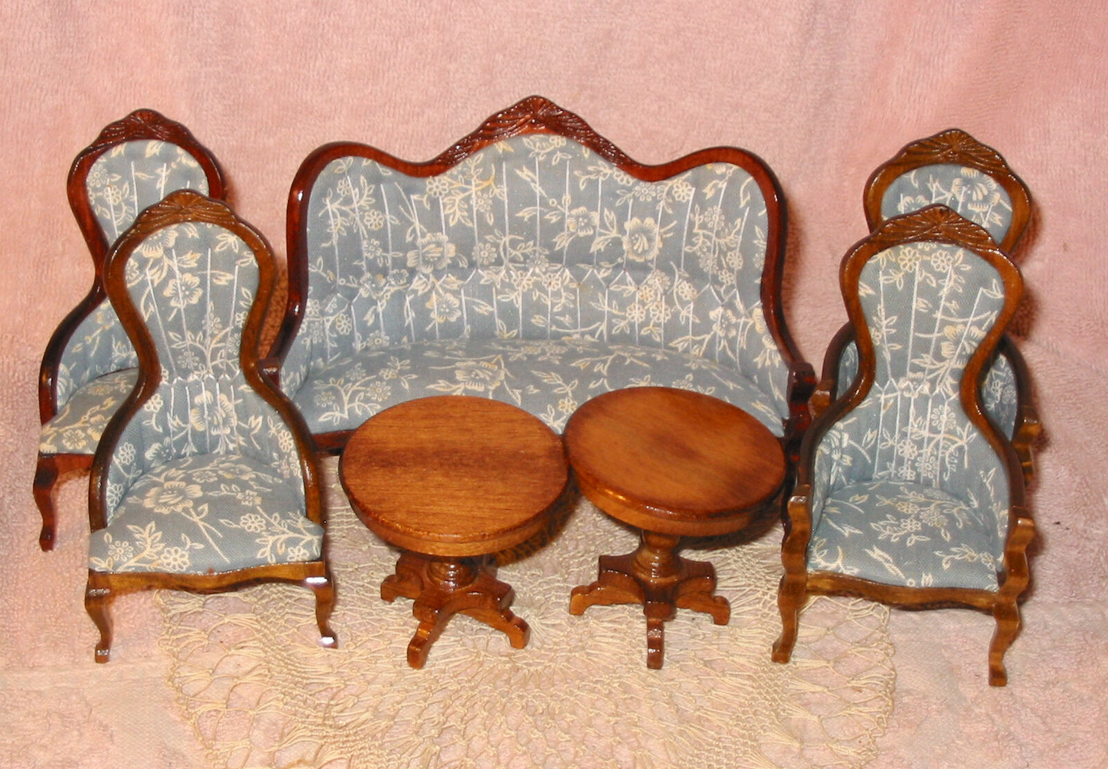 Victorian Dollhouse Furniture ROC Upholstered Living Room Sofa Chairs Tables