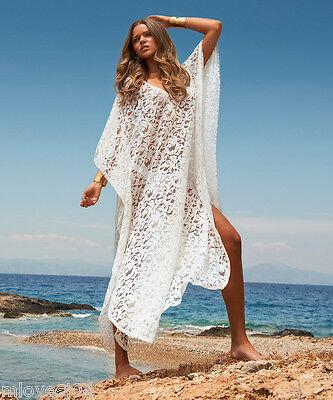 MELISSA ODABASH Beige Crochet Cover Up Beach Dress Kaftan Bikini BNWT S M L