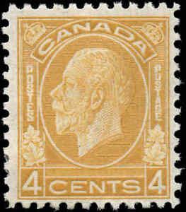 Mint-H-Canada-1932-F-Scott-198-4c-King-George-V-Medallion-Stamp-Regummed