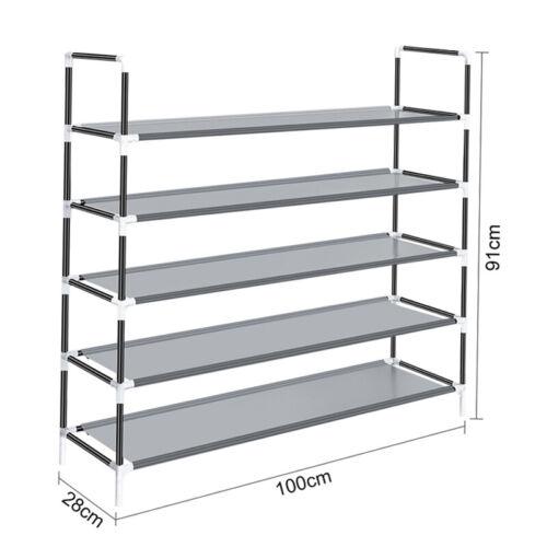 25 Pair 5 Tier Metal Shoe Rack Free Standing Storage Organizer Shelf Shoe Tower